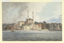 Aurangzeb's mosque, Benares (U.P.) seen from the river.